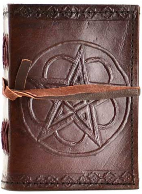 Pentagram Leather Pocket Size Journal at Gothic Plus, Gothic Clothing, Jewelry, Goth Shoes & Boots & Home Decor