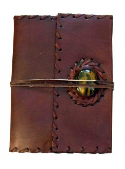 Leather Gemstone Blank Book With Cord - 7 Inches Gothic Plus Gothic Clothing, Jewelry, Goth Shoes & Boots & Home Decor