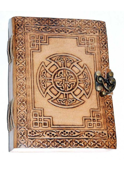Celtic Cross Leather Blank 7 Inch Journal with Latch at Gothic Plus, Gothic Clothing, Jewelry, Goth Shoes & Boots & Home Decor