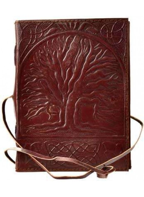 Sacred Oak Tree of Life Leather Journal with Cord at Gothic Plus, Gothic Clothing, Jewelry, Goth Shoes & Boots & Home Decor