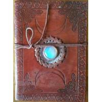 Triple Moon Gemstone Leather 7 Inch Journal