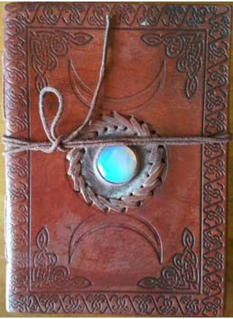 Triple Moon Gemstone Leather 7 Inch Journal at Gothic Plus, Gothic Clothing, Jewelry, Goth Shoes & Boots & Home Decor