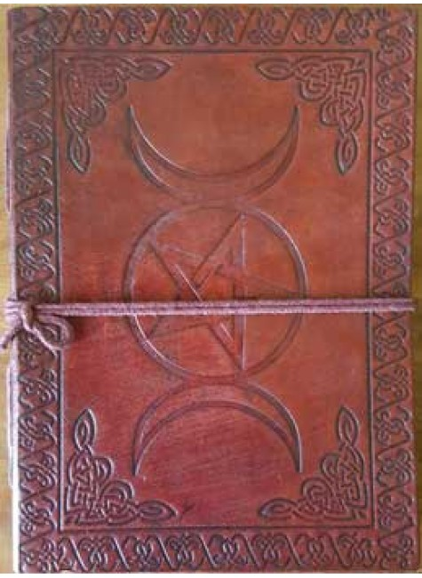 Triple Moon Pentacle Leather 7 Inch Journal at Gothic Plus, Gothic Clothing, Jewelry, Goth Shoes & Boots & Home Decor