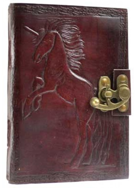 Unicorn Leather 7 Inch Journal with Latch at Gothic Plus, Gothic Clothing, Jewelry, Goth Shoes & Boots & Home Decor