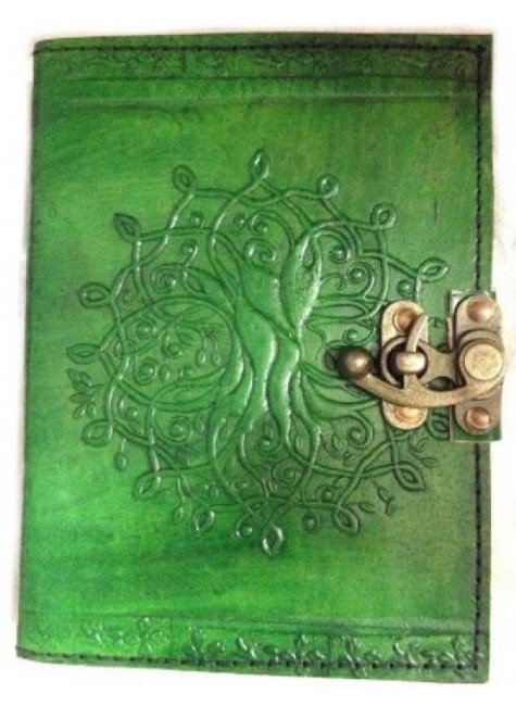 Tree of Life Green Leather Journal with Latch at Gothic Plus, Gothic Clothing, Jewelry, Goth Shoes & Boots & Home Decor