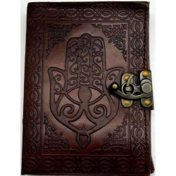 Hamsa Embossed Leather Journal with Latch Gothic Plus Gothic Clothing, Jewelry, Goth Shoes & Boots & Home Decor