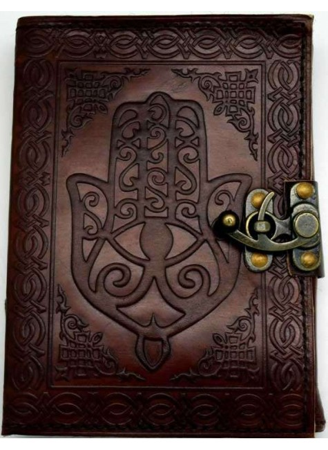 Hamsa Embossed Leather Journal with Latch at Gothic Plus, Gothic Clothing, Jewelry, Goth Shoes & Boots & Home Decor