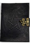 Pentacle Black Leather Book of Shadows 7 Inch Journal with Latch