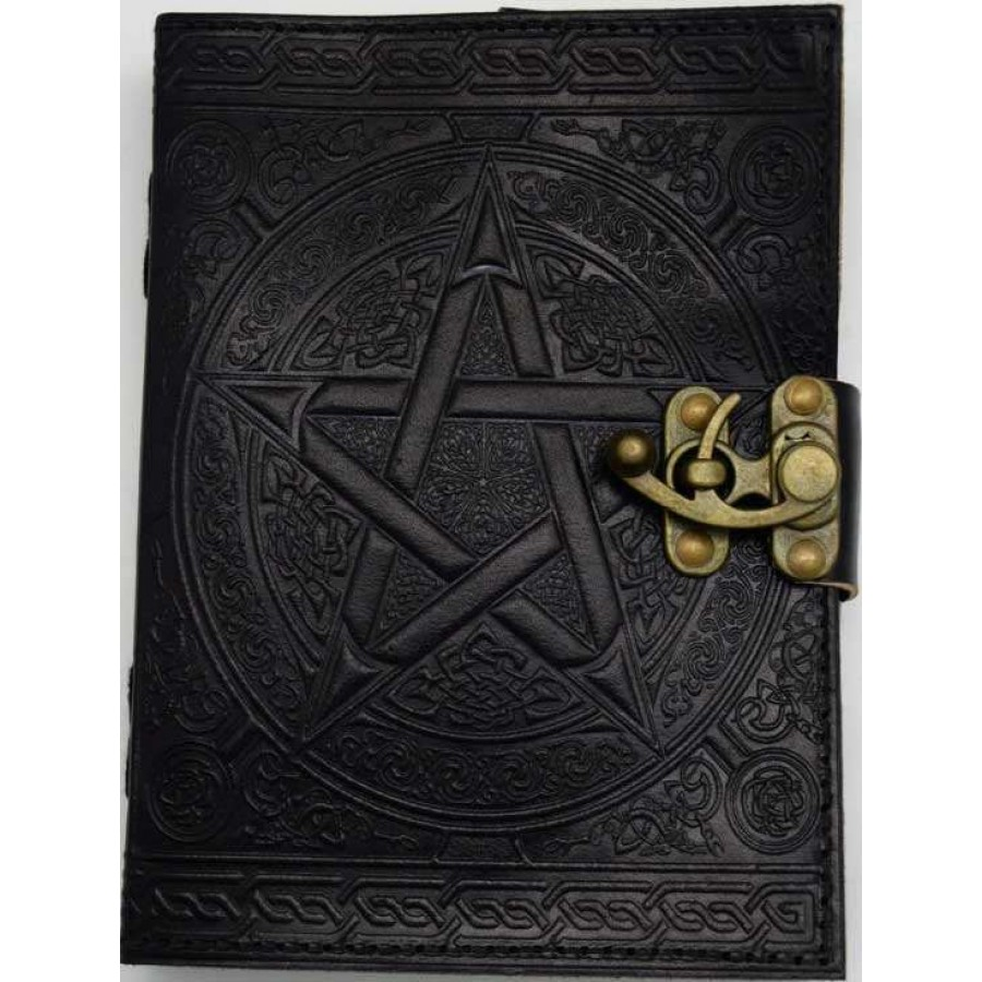 Black Leather Book Cover ~ Pentacle embossed black leather inch journal with latch