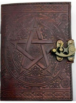 Pentacle Brown Leather Book of Shadows 7 Inch Journal with Latch Gothic Plus Gothic Clothing, Jewelry, Goth Shoes & Boots & Home Decor