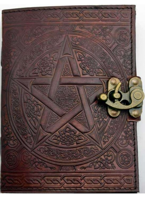 Pentacle Brown Leather Book of Shadows 7 Inch Journal with Latch at Gothic Plus, Gothic Clothing, Jewelry, Goth Shoes & Boots & Home Decor