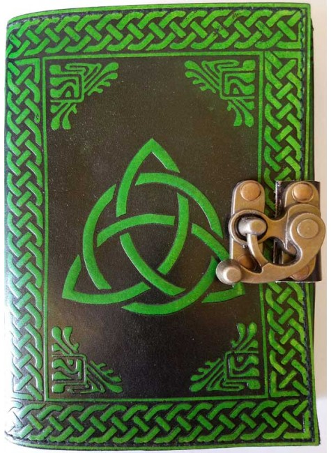 Triquetra Green Leather 7 Inch Journal with Latch at Gothic Plus, Gothic Clothing, Jewelry, Goth Shoes & Boots & Home Decor