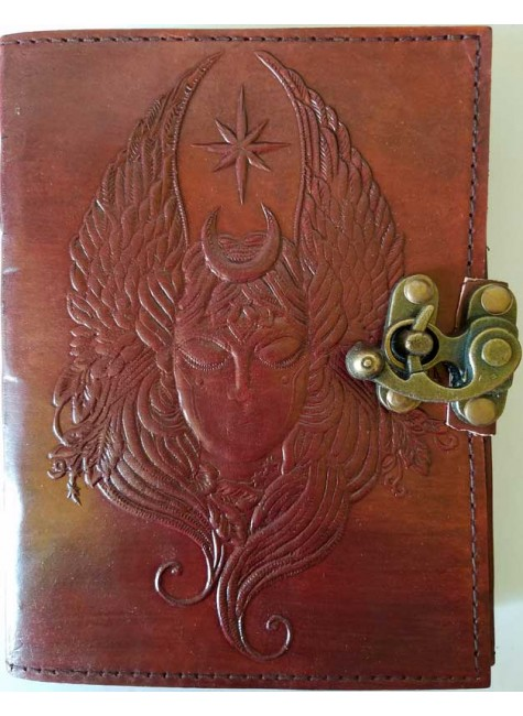 Moon Goddess 7 Inch Leather Journal with Latch at Gothic Plus, Gothic Clothing, Jewelry, Goth Shoes & Boots & Home Decor