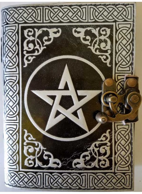 Pentacle Black and Silver Book of Shadows Journal with Latch at Gothic Plus, Gothic Clothing, Jewelry, Goth Shoes & Boots & Home Decor