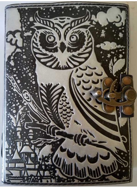 Owl Black and Silver Book of Shadows Journal with Latch at Gothic Plus, Gothic Clothing, Jewelry, Goth Shoes & Boots & Home Decor