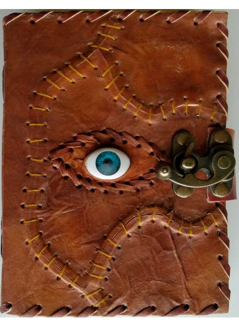 All Knowing Eye Stitched Leather Journal with Latch at Gothic Plus, Gothic Clothing, Jewelry, Goth Shoes & Boots & Home Decor
