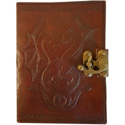 Double Dragon Leather Journal with Latch Gothic Plus Gothic Clothing, Jewelry, Goth Shoes & Boots & Home Decor