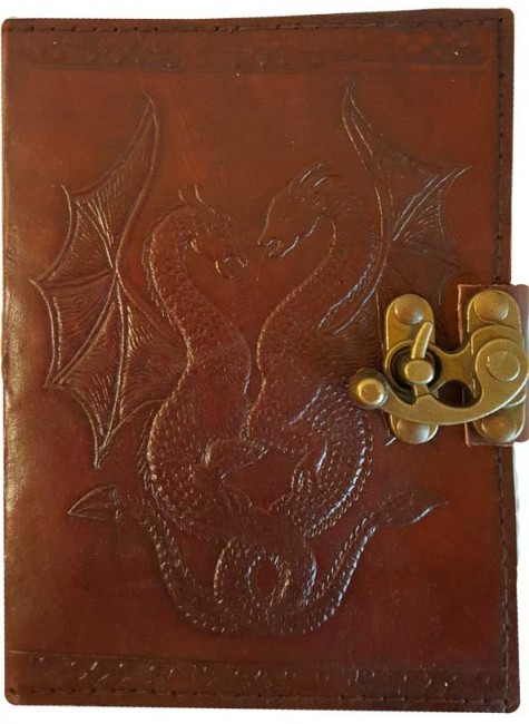 Double Dragon Leather Journal with Latch at Gothic Plus, Gothic Clothing, Jewelry, Goth Shoes & Boots & Home Decor