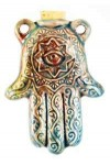 Hamsa Hand Raku Oil Bottle Necklace