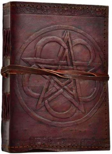 Pentagram Leather Journal with Cord at Gothic Plus, Gothic Clothing, Jewelry, Goth Shoes & Boots & Home Decor