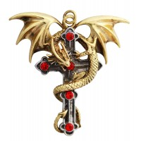 Crux Dragana Gothic Cross Necklace by Anne Stokes