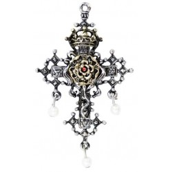Hampton Court Rose Cross Necklace Gothic Plus Gothic Clothing, Jewelry, Goth Shoes & Boots & Home Decor