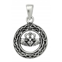 Celtic Claddagh Sterling Silver Pendant for Love