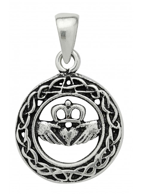 Celtic Claddagh Sterling Silver Pendant for Love at Gothic Plus, Gothic Clothing, Jewelry, Goth Shoes & Boots & Home Decor