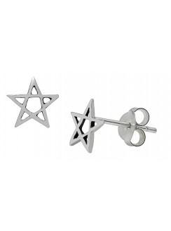 Pentagram Sterling Silver Stud Earrings Gothic Plus Gothic Clothing, Jewelry, Goth Shoes & Boots & Home Decor