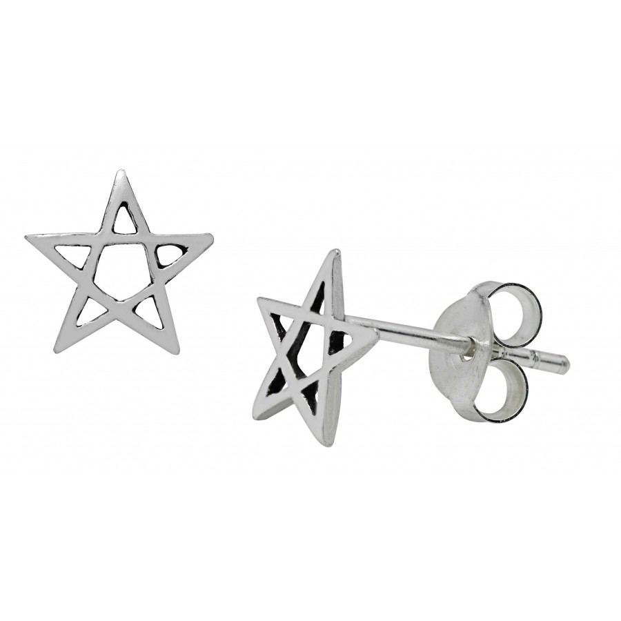 Pentagram Sterling Silver Stud Earrings At Gothic Plus, Gothic Clothing,  Jewelry, Goth Shoes