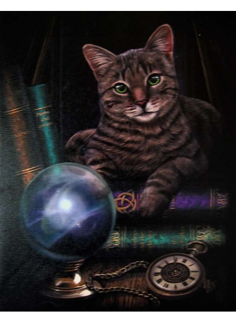Fortune Teller Cat Canvas Print at Gothic Plus, Gothic Clothing, Jewelry, Goth Shoes & Boots & Home Decor