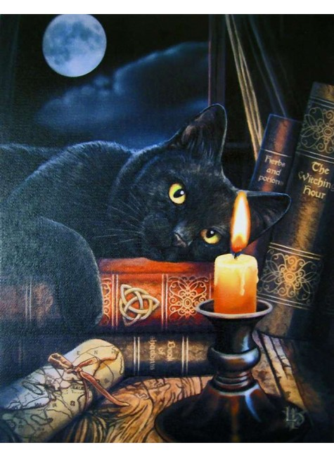 Witching Hour Black Cat Canvas Print at Gothic Plus, Gothic Clothing, Jewelry, Goth Shoes & Boots & Home Decor