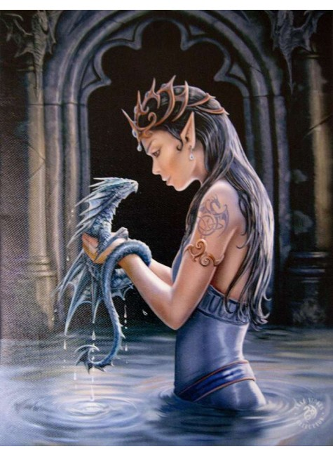 Water Dragon Canvas Art Print at Gothic Plus, Gothic Clothing, Jewelry, Goth Shoes & Boots & Home Decor