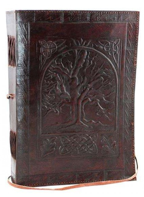 Tree of Life Leather 10 Inch Journal with Cord at Gothic Plus, Gothic Clothing, Jewelry, Goth Shoes & Boots & Home Decor