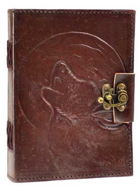 Wolf Moon Leather 7 Inch Journal with Latch at Gothic Plus, Gothic Clothing, Jewelry, Goth Shoes & Boots & Home Decor