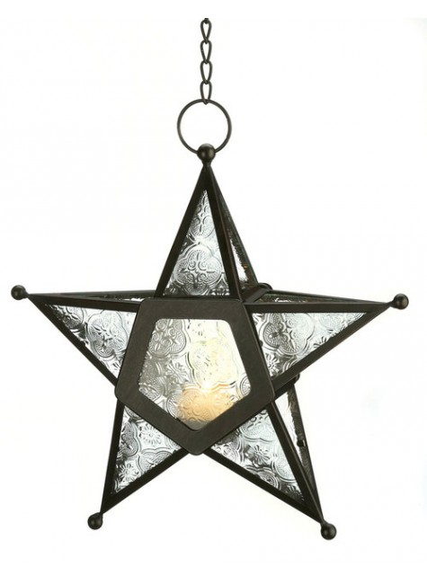 Star Hanging Lantern - Clear at Gothic Plus, Gothic Clothing, Jewelry, Goth Shoes & Boots & Home Decor