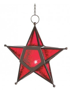 Star Hanging Lantern - Red Gothic Plus Gothic Clothing, Jewelry, Goth Shoes & Boots & Home Decor