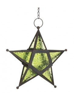 Star Hanging Lantern - Green Gothic Plus Gothic Clothing, Jewelry, Goth Shoes & Boots & Home Decor