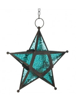 Star Hanging Lantern - Blue Gothic Plus Gothic Clothing, Jewelry, Goth Shoes & Boots & Home Decor